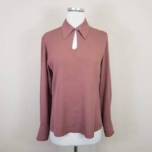 Tahari Pink Silk Long Sleeve Blouse Rose Pink 2